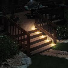 Flush Mount Deck Lights Solar The Flush Mount Solar Stair Lights Hammacher Schlemmer In