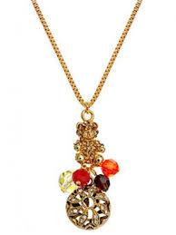 alilang golden tone topaz swarovski crystal bear intricate circus ball pendant necklace