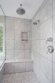 ... Modern Design With Ceiling Mount Shower Heads For Bathroom Decoration :  Endearing Grey Marble Tile Wall ...