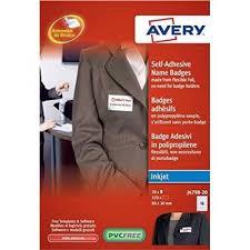 Avery J4798 20 80x30mm Self Adhesive Name Badge 320 Labels J4798 20