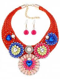 handmade woven fl rhinestoned jewelry set