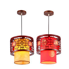 chinese wooden restaurant ceiling pendant light dining room hallway hanging lamp red