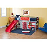 car beds with slides. Delighful With Boysu0027 Fire Department Twin Loft Bed With Slide Red On Car Beds With Slides F