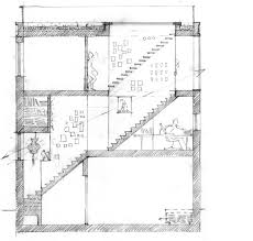 section through the house with the studio on ground floor working and bedrooms on