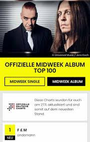 Midweek Album Chart Platz Eins German Midweek Album Charts Lindemann
