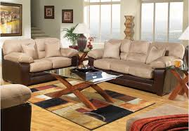 Microfiber Living Room Set 5pc Casual Style Rooms To Go Living Room Furniture Chocolate