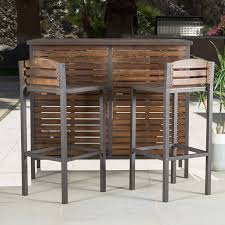 wood patio bar set. Amazon.com: Bistro Bar, Modern/Rustic Brown Outdoor 3-Piece Milos Set (296852). Made With Durable Acacia Wood And Framed Powder Coated Iron. Patio Bar