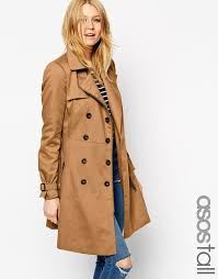 women s fashion outerwear trenchcoats tan trenchcoats asos collection tall trench with biker detail in skater fit