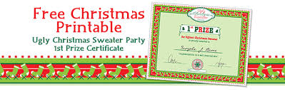 Printable Christmas Certificates Party Simplicity Free Christmas Printable Ugly Christmas Sweater 70
