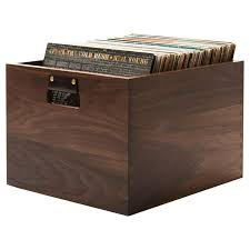 solid walnut dovetail record crate in stock for