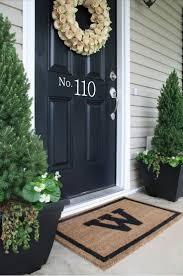 Floor & Rug: Fir Trees And Welcome Front Door Mat With Tile Floors ...