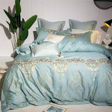 oriental embroidery blue modern luxury bedding set 4 queen king size bed sheet duvet cover pillowcases