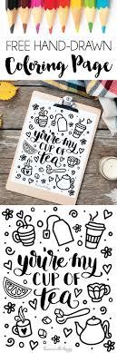 Cup of Tea Free Coloring Page | Dawn Nicole Designs®