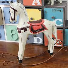 vintage painted wooden horse figurines miniatures toys resin animal figurines decoration crafts desktop home decor gift