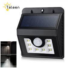Tsleen Gratis Verzending Zonne Energie Pir Bewegingssensor Hek Detective Wandlamp Outdoor Waterdichte Tuin Lamp Verlichting