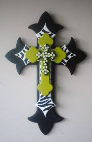 Large Lime Green, Black, and Zebra Print Wood Cross