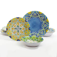 Melamine Dinnerware Designs Gibson Home Seaberry 12 Melamine Dinnerware Set Assorted