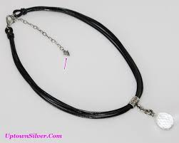 silpada black leather crystal quartz pendant necklace artisan 925 sterling silver jewelry new in box retired