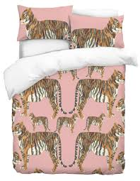 siberian tiger pink duvet bedding set with pillowcases