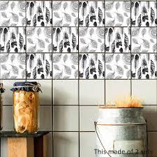 Zwart Wit Veer Tegel Sticker Waterdicht Zelfklevend Behang Muur