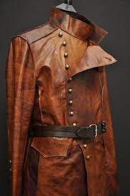 <b>MENS</b> LEATHER STEAMPUNK <b>ROCK</b> MILITARY <b>JACKET</b> UNIQUE ...