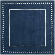 contemporary handmade navy blue ivory wool rug square rugs 4x4