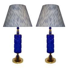 contemporary italian lighting. Contemporary Italian Pair Of Brass And Cobalt Blue Murano Glass Table Lamps Contemporary Italian Lighting G