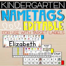 Editable Kindergarten Name Tags For Target Labels
