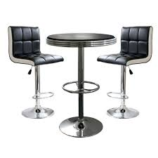amerihome retro style bar table set in black with padded vinyl chairs 3 piece bsset19 the home depot