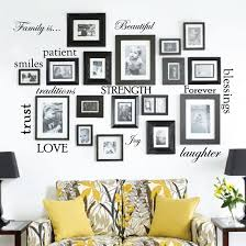 family picture frame word wall decals jpg on wall art words stickers with set of 12 family quote words vinyl wall sticker picture frame wall