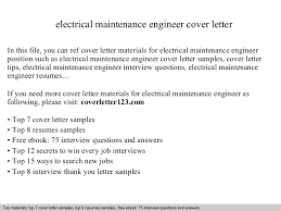 Electrical Engineer Cover Letter Electrical Maintenance Engineer Cover Letter