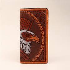 3d belt dw755 tan western mens rodeo hand tooled leather wallet eagle design