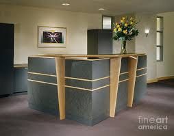 Architectural Detail Photograph - Office Building Reception Desk by Robert  Pisano