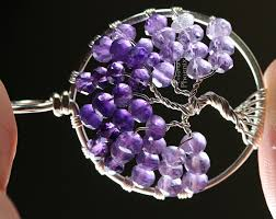 tree of life pendant featuring shaded ombre amethyst micro faceted rondelles hand wire wrapped