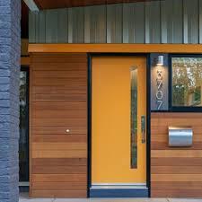 Orange front door Siding Entryway Midsized 1960s Entryway Idea In Dc Metro With An Orange Front Door The Inspired Room Orange Front Door Ideas Houzz