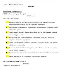 Sample Curriculum Vitae For Financial Manager Finance Resume It