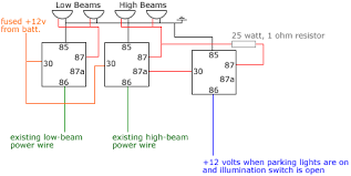 headlight relays diagram included 1 will this setup do what i want it to do i m just not sure exactly how to provide a reduced amount of power to my high beams