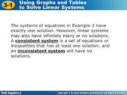 the systems of equations in example 2 have exactly one solution