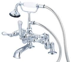 adjule faucet with handheld shower hand polished chrome lever handles