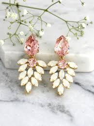 bridal earrings blush chandelier blush white opal chandelier opal crystal swarovski chandelier earrings morganite bridal chandeliers