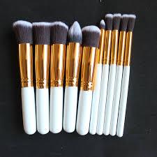 dowerme 10pcs professional soft cosmetics brushes eyebrow shadow face makeup powder brush set tools kit kryolan