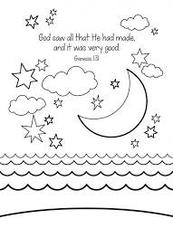 Creation Coloring Pages Day Four Coloringstar