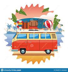 Camper Van Graphics Design Camper Van And Beach Items Stock Vector Illustration Of