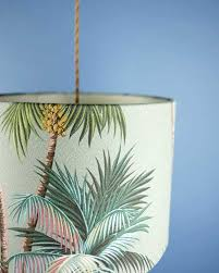 tropical pendant lighting. Tropical Printed Lampshade Pendant With Palm Leaves Lighting