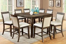 9 piece forbes ii counter height dining set in gray finish foa cm3435pt