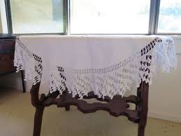 gray round tablecloth unique vintage white linen tablecloth 6 inch deep hand crocheted lace