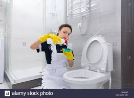 Female housekeeper in blue dress and white apron putting cleaner ...