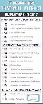 resume tips that will attract employers in infographic 17 resume tips that will attract employers in 2017 infographic off the clock resumes