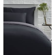 wilko reversible black and charcoal king size duvet set image 1