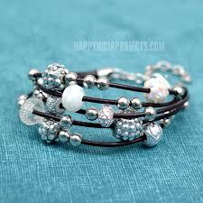 diy leather bracelet bling beads